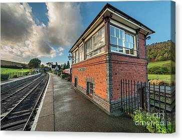 Canvas Print featuring the photograph Carrog Signal Box by Adrian Evans