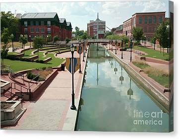 Carroll Creek Park In Frederick Maryland With Watercolor Effect Canvas Print