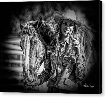 Carrots Cowgirls And Horses  Black Canvas Print