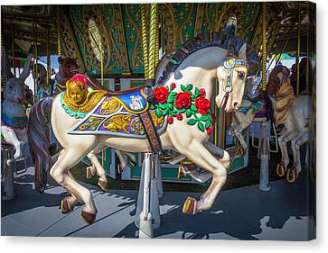 Carrousel Horse With Roses And Angel Canvas Print by Garry Gay