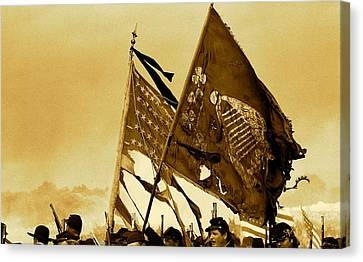 War Torn Flag Canvas Print - Carrying Their Colors - Sepia by Linda Allasia