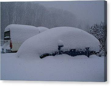 Cars During Snowpocalypse Canvas Print by Kathryn Meyer