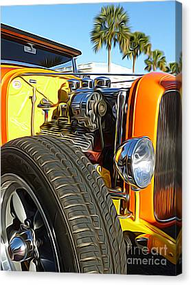 Cars - 1932 Ford Roadster Hot Rod - Engine And Tire Close Up Canvas Print by Jason Freedman