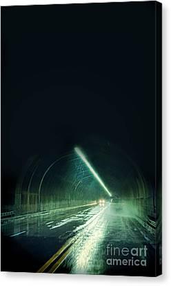 Cars In A Dark Tunnel Canvas Print by Jill Battaglia