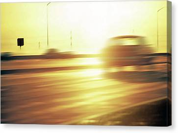 Cars On Freeway 3 - Evening Commute Canvas Print by Steve Ohlsen