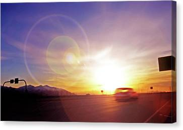 Cars On Freeway 4 - Evening Commute Canvas Print by Steve Ohlsen