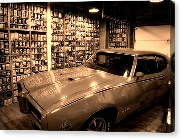 Cars Pontiac Gto The Judge Sepia Canvas Print by Thomas Woolworth