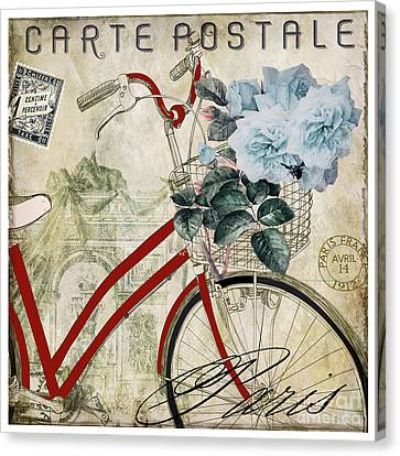 Carte Postale Vintage Bicycle Canvas Print by Mindy Sommers