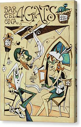 Cartell 120 Aniversari Restaurant Els Quatre Gats Barcelona Canvas Print by Arte Venezia