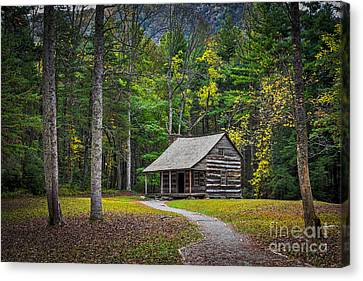 Carter Shields Cabin In Cades Cove Tn Great Smoky Mountains Landscape Canvas Print by T Lowry Wilson