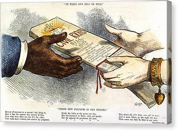 Cartoon: Civil Rights 1875 Canvas Print by Granger