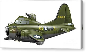 Cartoon Illustration Of A Boeing B-17 Canvas Print by Inkworm