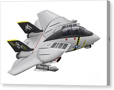 Cartoon Illustration Of A F-14 Tomcat Canvas Print by Inkworm