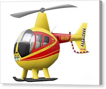 Cartoon Illustration Of A Robinson R44 Canvas Print by Inkworm