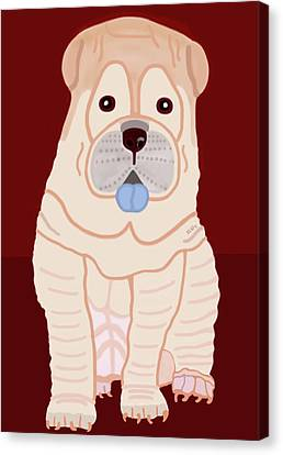 Cartoon Shar Pei Canvas Print by Marian Cates