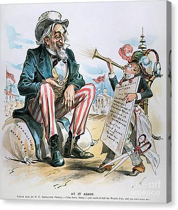 Cartoon: Uncle Sam, 1893 Canvas Print by Granger