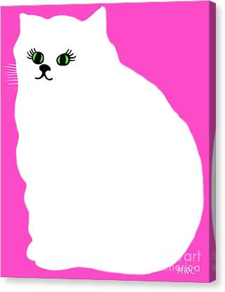 Cartoon Plump White Cat On Pink Canvas Print