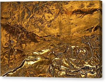 Metallic Sheets Canvas Print - Carved Bronze by Laura Jelenkovich