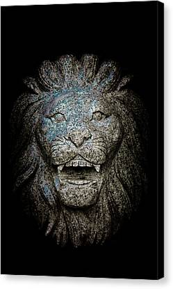 Carved Stone Lion's Head Canvas Print by Loriental Photography