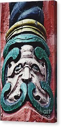 Carved Window Post Mainz Canvas Print by Sarah Loft