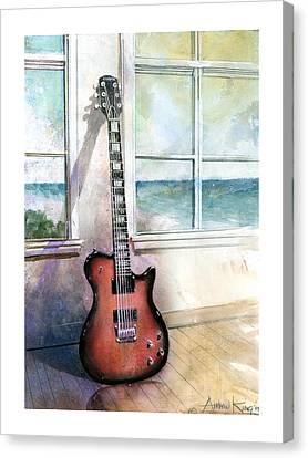 Canvas Print featuring the painting Carvin Electric Guitar by Andrew King