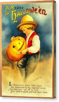 Carving A Pumpkin Canvas Print