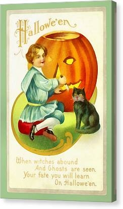 Carving A Pumpkin With Your Cat Canvas Print