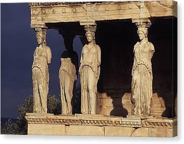 Caryatides At The Acropolis Canvas Print