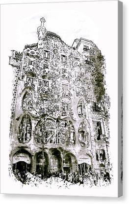 Casa Batllo Barcelona Black And White Canvas Print