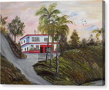Casa En Montanas De Cerro Gordo Canvas Print by Gloria E Barreto-Rodriguez