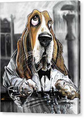 Casablanca Basset Hound Caricature Art Print Canvas Print by John LaFree