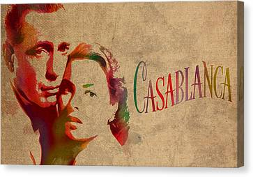 Casablanca Watercolor Painting Humphrey Bogart Ingrid Bergman On Worn Distressed Canvas Canvas Print