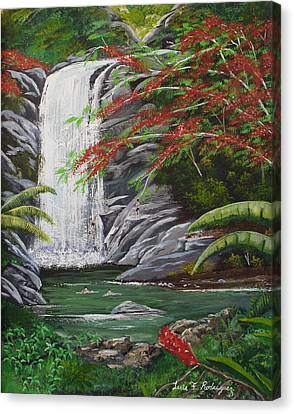 Cascada Tropical Canvas Print by Luis F Rodriguez
