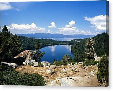 Cascade Lake And Lake Tahoe Canvas Print by Troy Montemayor