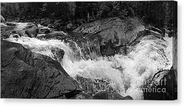 Cascade Stream Gorge, Rangeley, Maine  -70756-70771-pano-bw Canvas Print by John Bald
