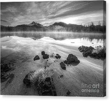 Cascades In Black And White Canvas Print