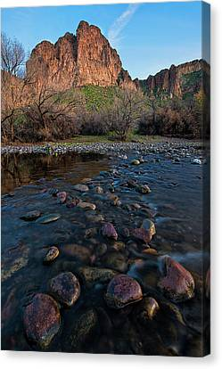 Canvas Print featuring the photograph Cascades In The Salt River At Sunset by Dave Dilli