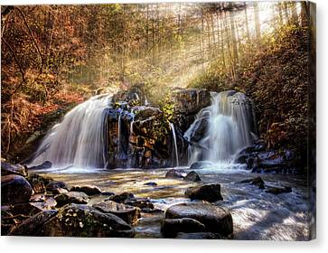 Canvas Print featuring the photograph Cascades Of Light by Debra and Dave Vanderlaan