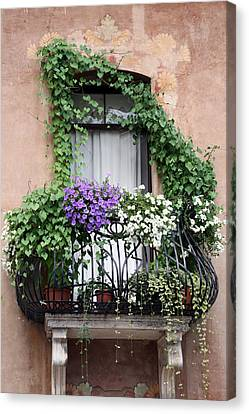 Canvas Print featuring the photograph Cascading Floral Balcony by Donna Corless