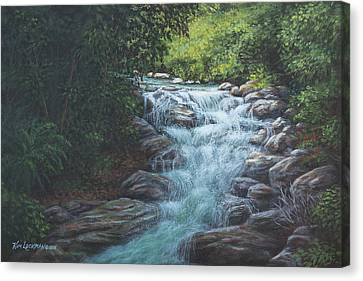 Canvas Print featuring the painting Cascading Stream by Kim Lockman