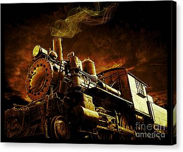 Casey Jones And The Cannonball Express Canvas Print by Edward Fielding