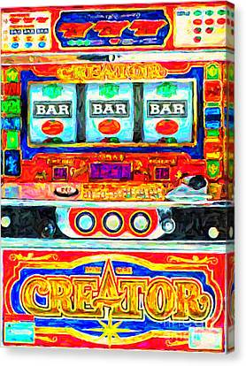 Casino Slot Machine . One Arm Bandit . Triple Bar Bonus Jack Pot Canvas Print by Wingsdomain Art and Photography