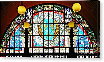 Turquoise Stained Glass Canvas Print - Casino Stained Glass by Sarah Loft