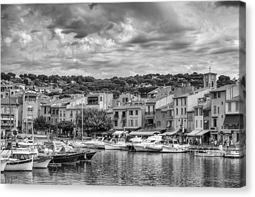 Cassis - South Of France In Mono Canvas Print by Georgia Fowler