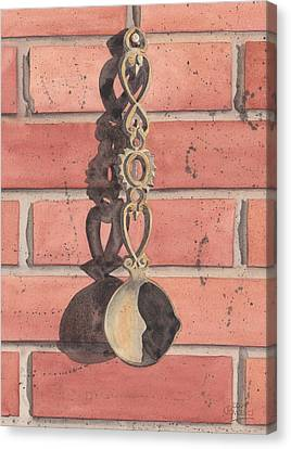 Cast Iron Welsh Love Spoon Canvas Print by Ken Powers