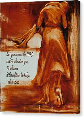 He Walks With Me Canvas Print - Cast Your Cares On The Lord - Psalm 52 22 by Jani Freimann