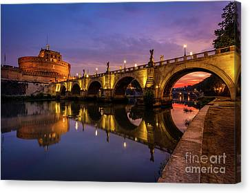 Castel Sant Angelo And The Tiber Canvas Print by Inge Johnsson