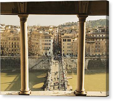 Shoreline Old Men Canvas Print - Castel Sant Angelo, Bridge Sant Angleo by Mats Silvan