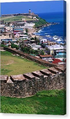 Castillo San Felipe Del Morro Overlooking Coastline, San Juan, Puerto Rico Canvas Print by John Elk III