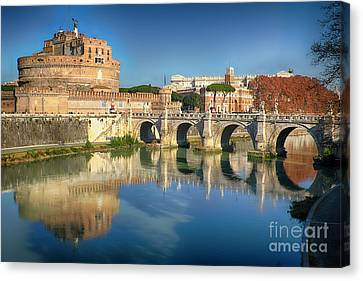 Castle And Bridge Reflections In The Tiber River Canvas Print